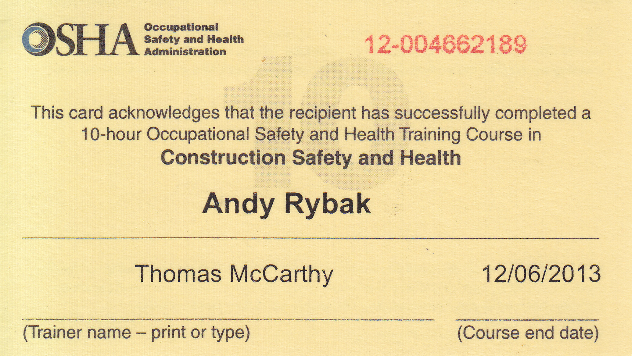Credentials rybak home inspections osha certificate successful completion xflitez Image collections