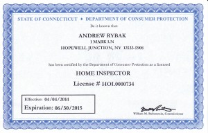 State of Connecticut Home Inspector License