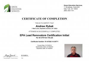EPA Lead Renovators Certification Initial