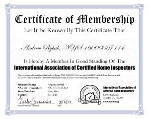 NACHI Certificate of Membership