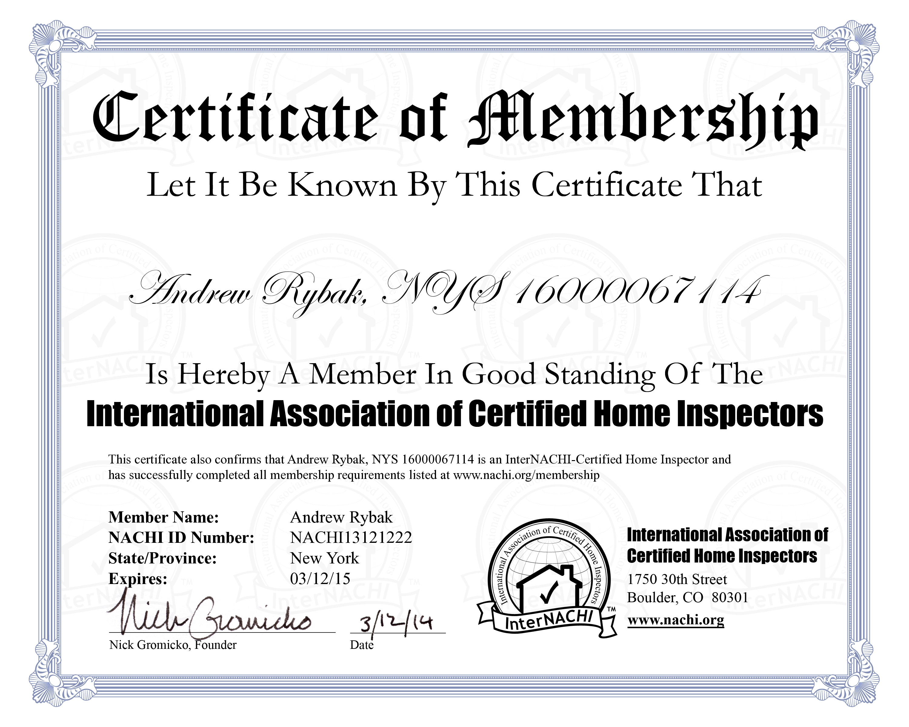 Credentials Rybak Home Inspections – Membership Certificate Template