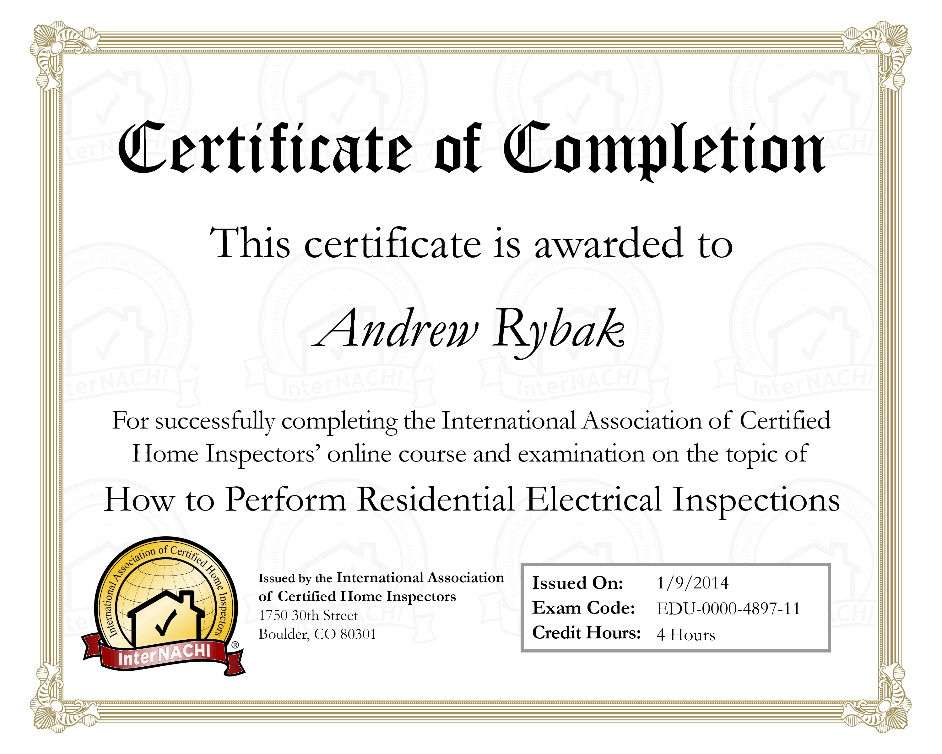Credentials Rybak Home Inspections