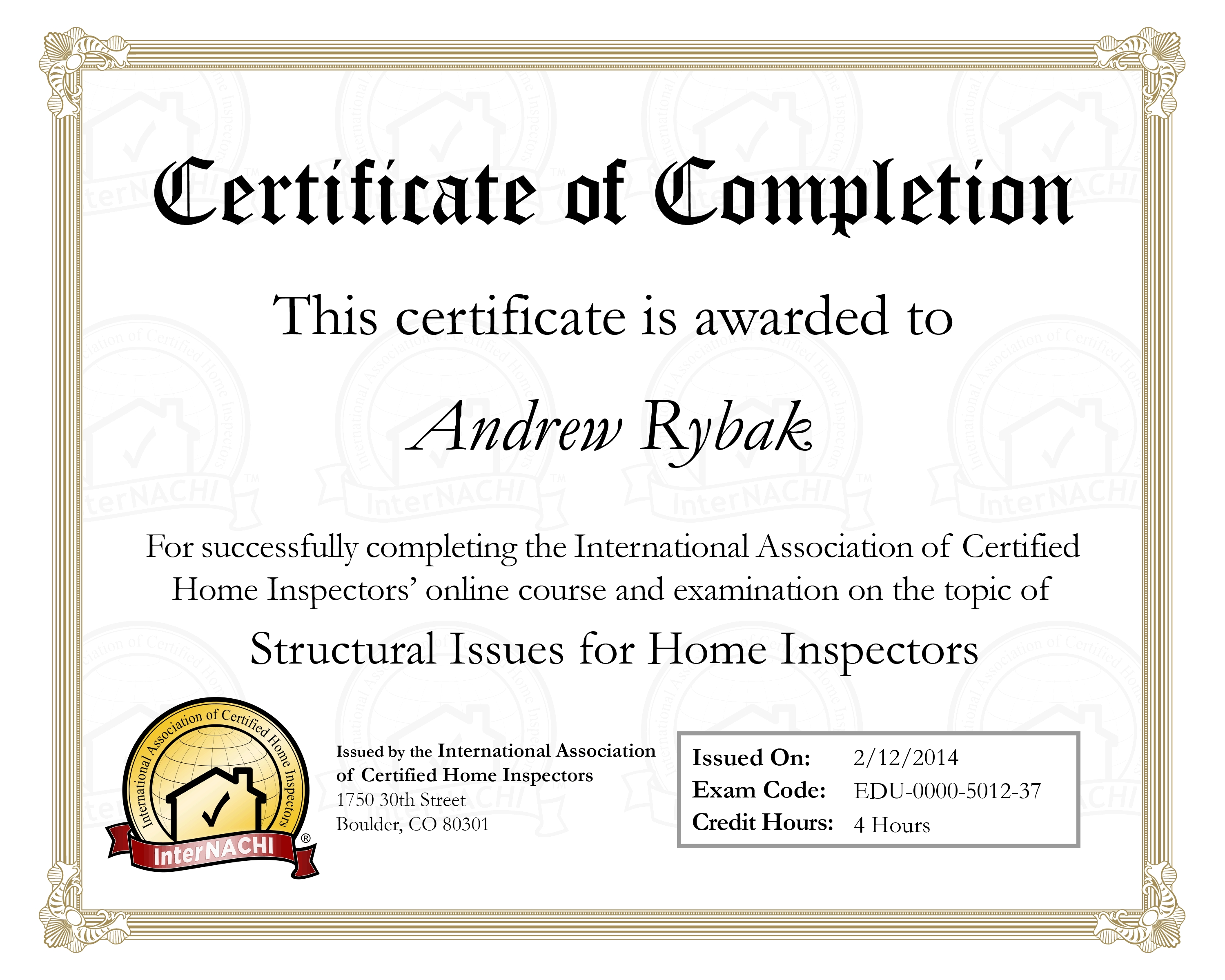 Credentials rybak home inspections credentials yadclub Choice Image